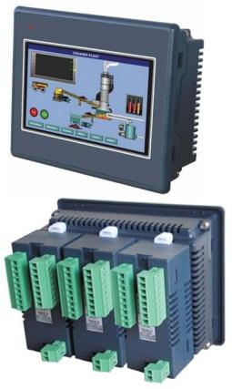 PLC con pantalla LCD touchscreen